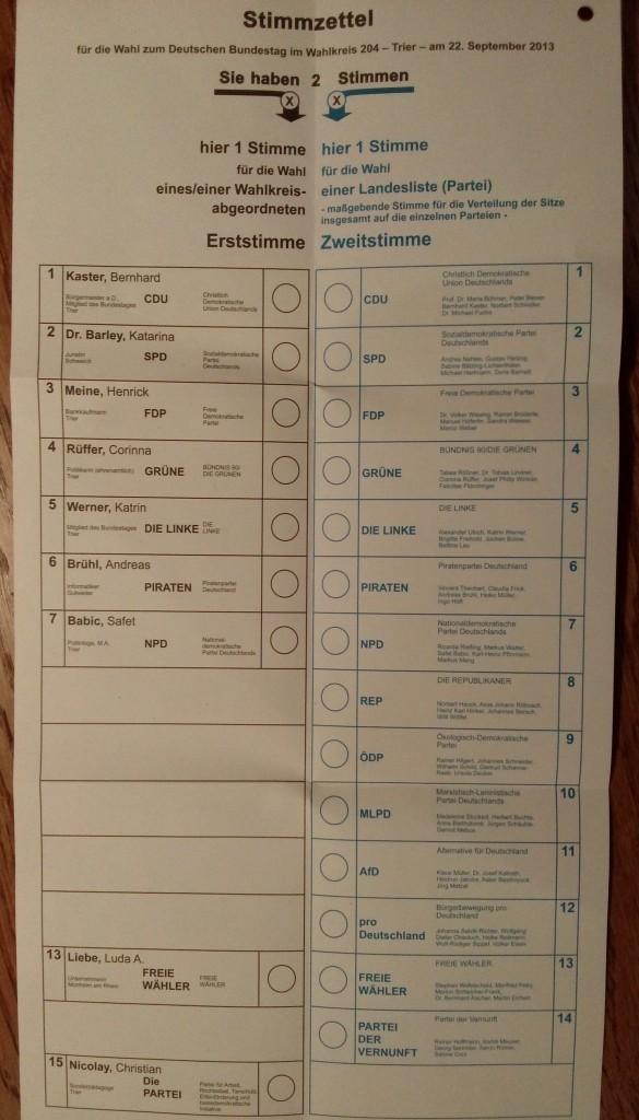 Stimmzettel für die Wahl zum Bundestag (Wahlkreis Trier)